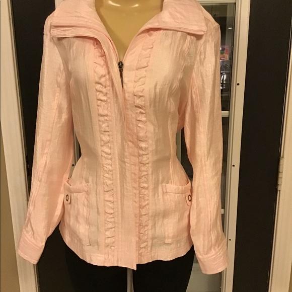 Tan jay Shimmery Shapely Pink Jacket Size S